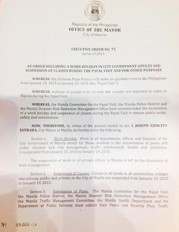 Manila Executive Order 75