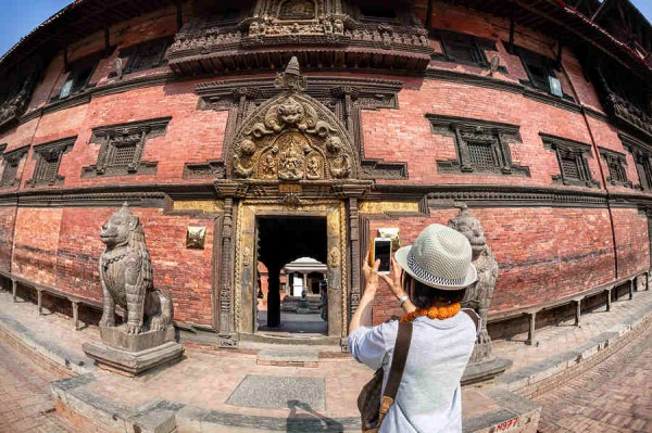 Tourist Taking Picture In Patan Nepal