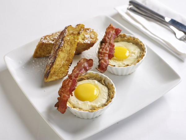 3-baked potato, bacon and eggs