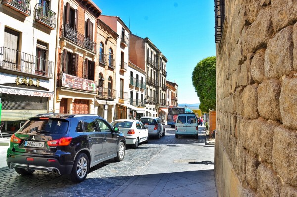Busy Street outside the Muralla de Avila