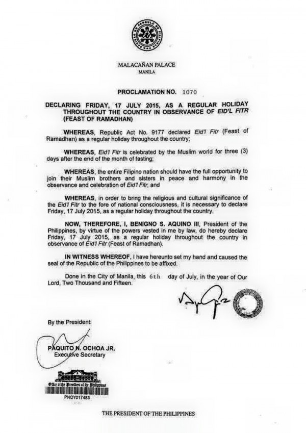 Malacanan Palace Proclamation no 1070 - 2015 End of Ramadan