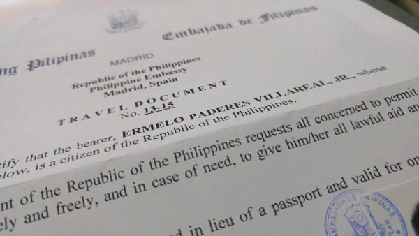 Travel Document from Philippine Embassy in Madrid