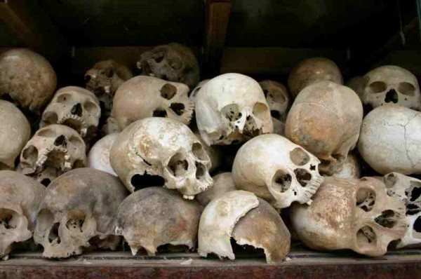 Skulls of those executed at the Killing Fields near Phnom Penh