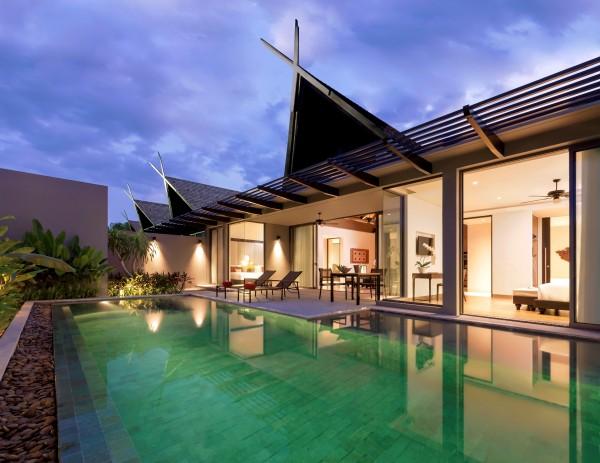 Two-bedroom pool villa at night