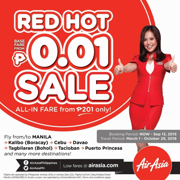 AirAsia Philippines one-centavo plane seats