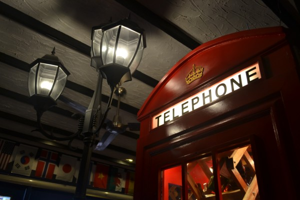 British style payphone and street lamp