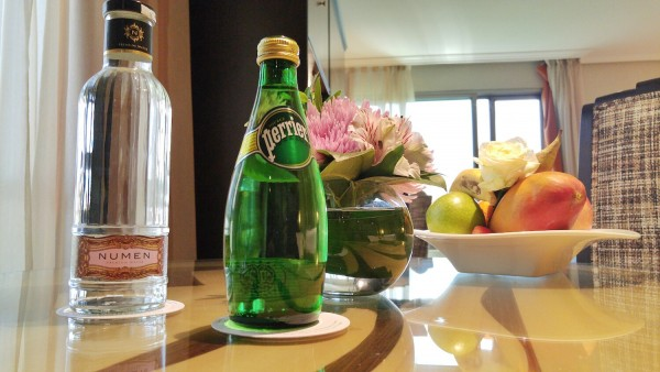 Complimentary Fruits and Sparkling Water