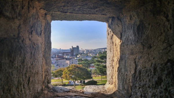 View of the progressive Suwon City from the Old Suwon Hwaseong Fortress