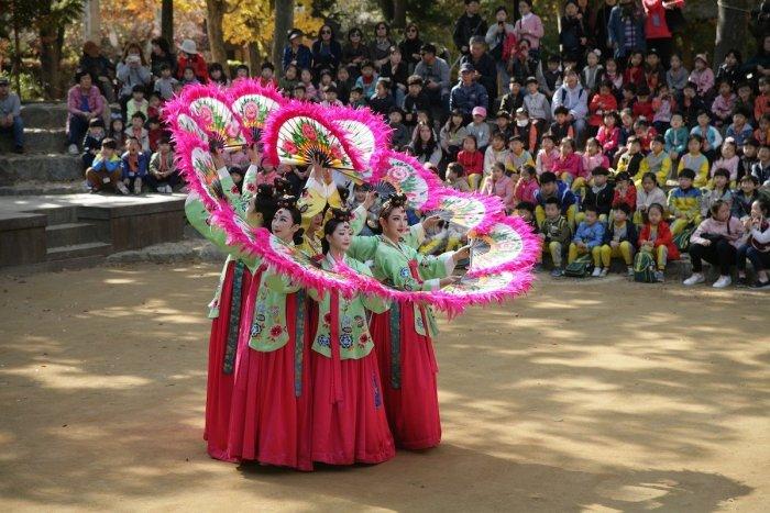 Korean Fan Dance Performers at Korean Folk Village