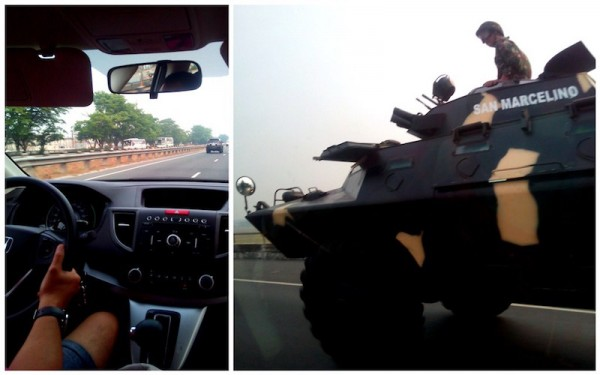 Military tank on the highway to Subic