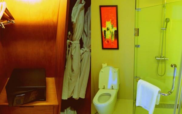 Bathroom amenities and safe