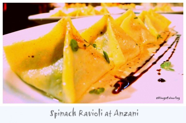 Spinach Ravioli at Anzani
