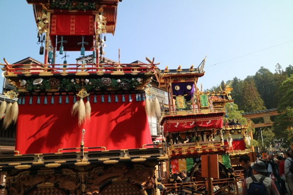 Some of the Takayama Autumn Festival Floats lined up in the streets