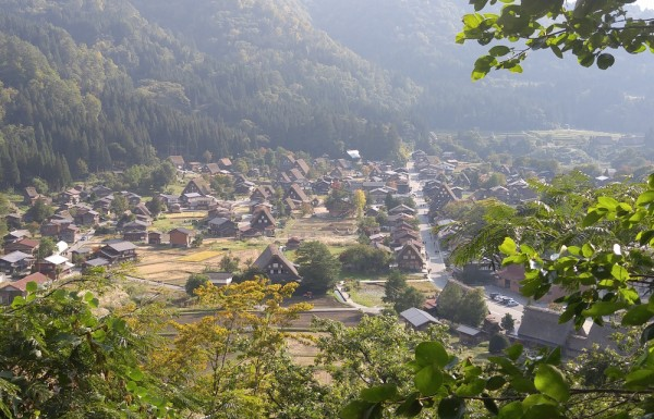 Birds-eye view of the villages of Shirakawa-go
