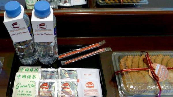Complimentary water, snacks, tea and coffee
