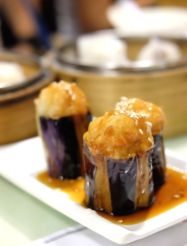 Pan-fried stuffed eggplant with Teriyaki Sauce