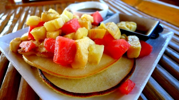 3 Stacked Pancakes with Fruits