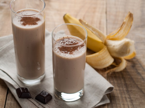 Chocolate and banana smoothie with chocolate syrup
