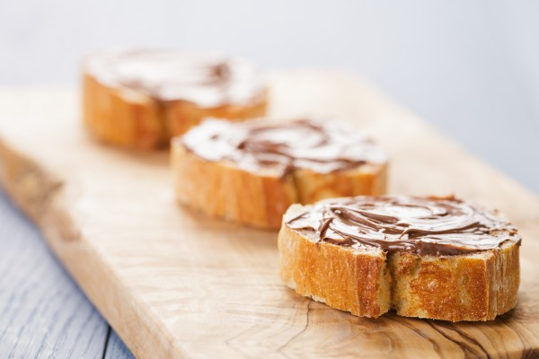 baguette slices with chocolate hazelnut syrup