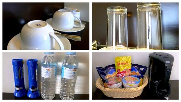 Coffee set, water and room snacks