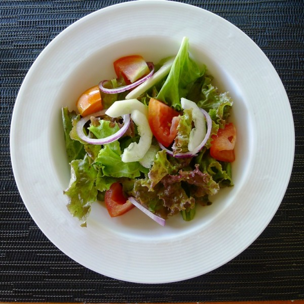 Cucumber and tomato salad for lunch appetizer