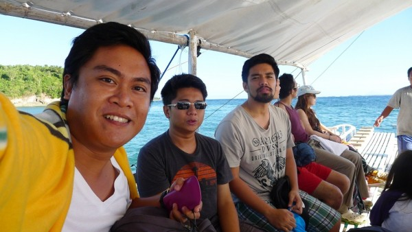 Riding the pump boat to Malapascua