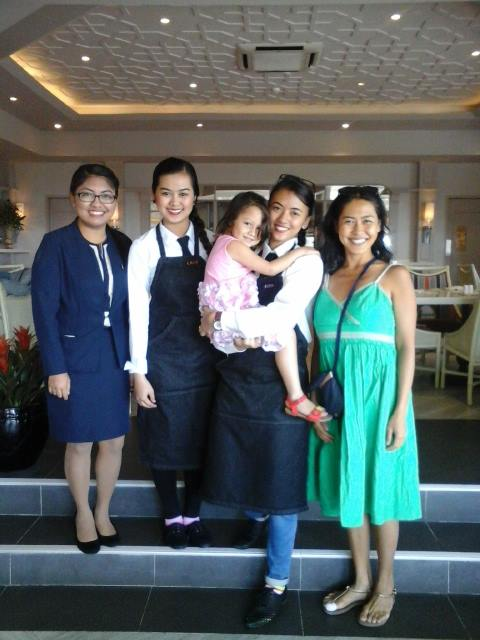 The writer with Taal Vista Hotel's wonderful and efficient staff