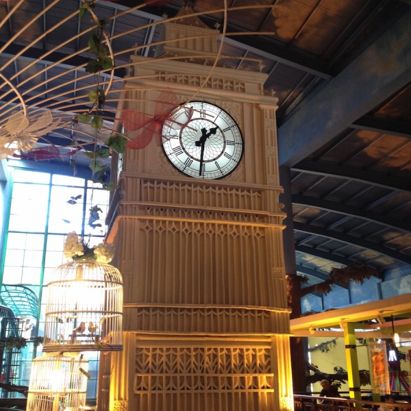 classic grandfather's clock display in the indoor amusement park