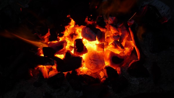 Burning hot charcoal