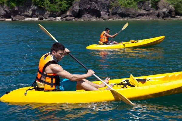 Intense body workout on the surface with a kayak