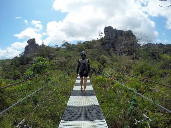 Long bridge crossing high up in the air - Masungi Georeserve Experience