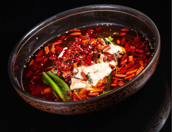 Szechuan braised fish with golden mushrooms and spicy broth