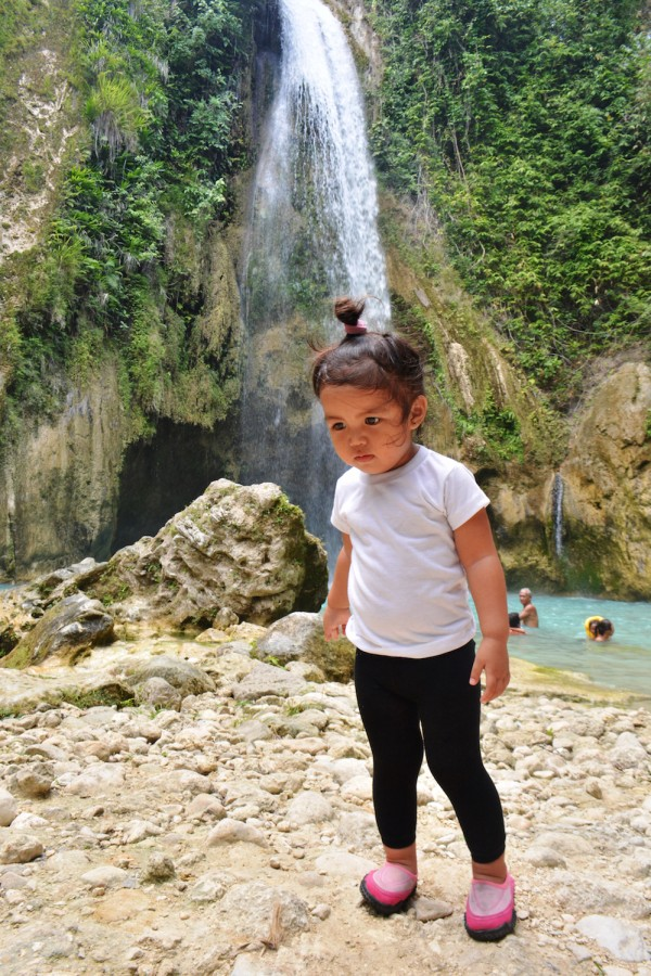 My then?2?yo daughter, waiting to dip at Inambakan Falls