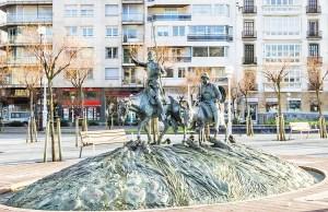 Sculpture of famous Spanish Don Quixote and Sancho Panza in San Sebastian Spain