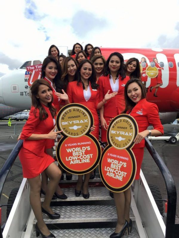 AirAsia Flight Attendants at the Farnborough Air Show in London