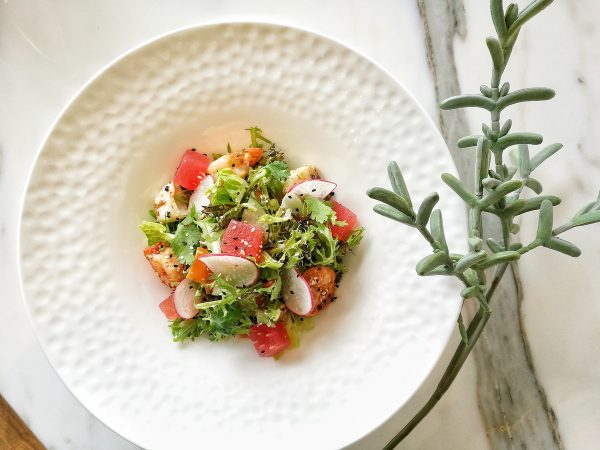 Chilled Seafood Salad, with baby squid, octopus, shrimp, and compressed watermelon drizzled with ginger-sesame dressing