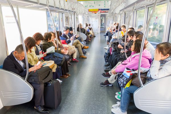 JR West Passengers in train from Kyoto station and going to inari station