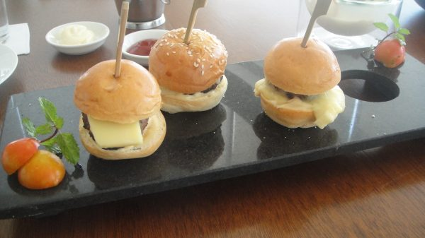 Mini Wagyu Beef Burger with Cheddar Brie and Blue Cheese