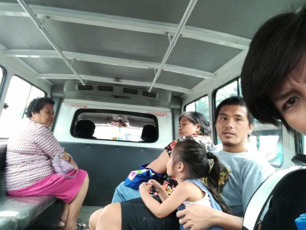 Taking selfies on the van, on the way to the Philippine Eagle Center