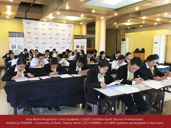 Asia World Hospitality conducted its first academic Certified Guest Service Professionals for HRM Students in University of Iloilo