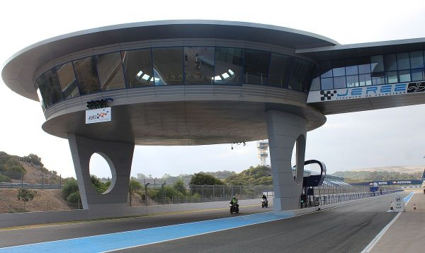 "The VIP ""flying saucer"" over the Jerez track near the finish line"
