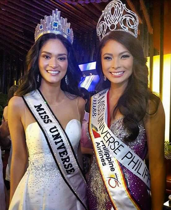 Miss Universe 2015 Pia Wurtzbach with Miss Universe Philippines 2016 Maxine Medina