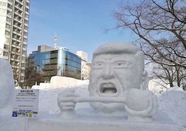 Donald Trump Snow Sculpture