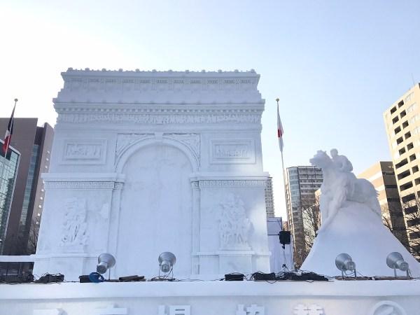 Huge Snow and Ice Replica of Arc de Triomphe