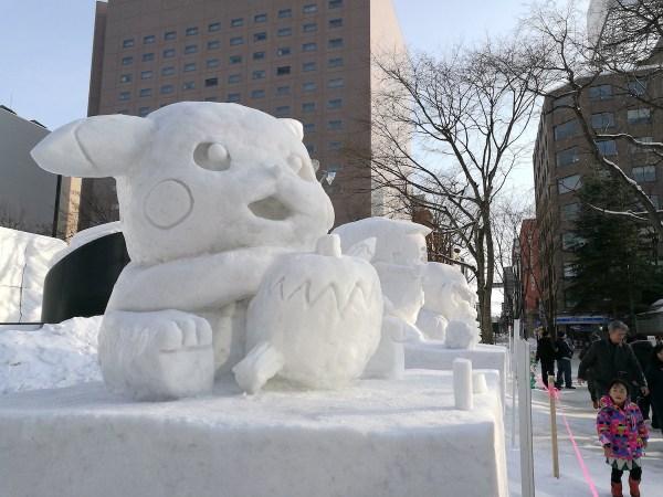 Pikachu Snow Sculpture in Sapporo Japan