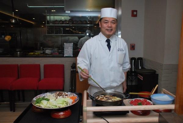 Chef Mizumoto Masahiro cooking Sukiyaki