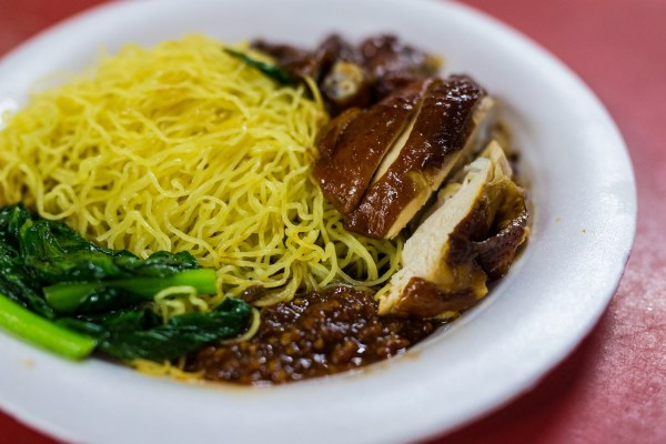 Chan Hong Meng's soya sauce chicken noodle at Chinatown Complex on July 24, 2016 in Singapore. Chan was awarded a one-star rating by Michelin on July 21, making him one of the first street food hawkers to be awarded in the guide's history.