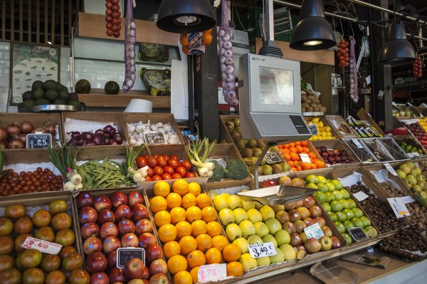 Fruits and vegetable shop in San Miguel Market Madrid