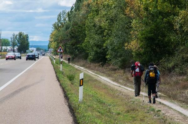 Peregrinos on their designated way