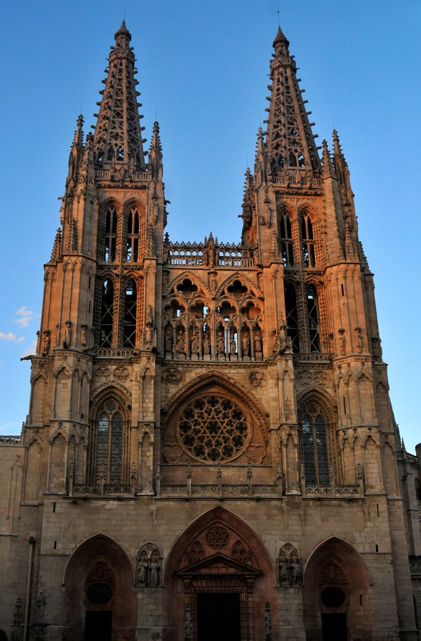 The beautiful stone facade of Burgos Cathedral.